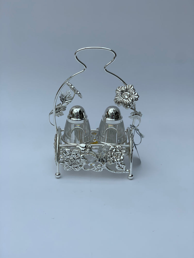 Silver Effect Salt and Pepper shaker set with stand