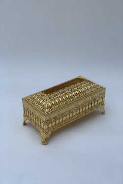 Gold Metal Tissue Box Cover