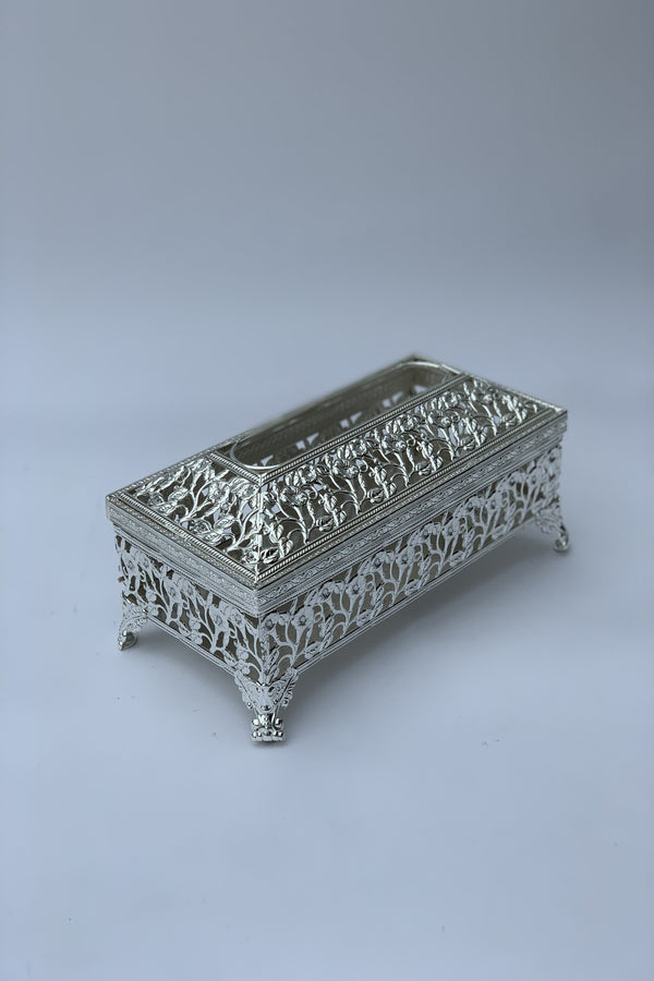 Silver Metal Tissue Box Cover