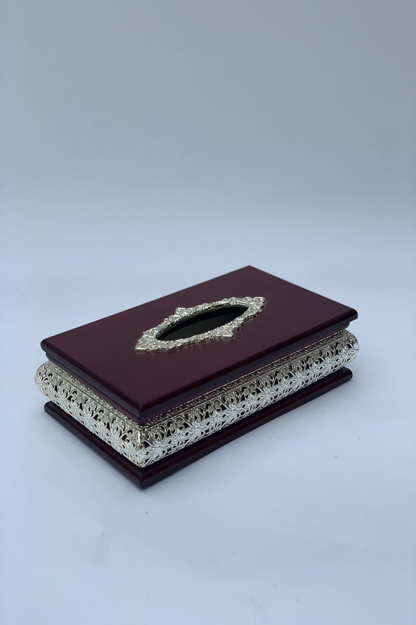 Mahogany and Silver Tissue Box Cover