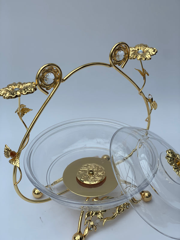 Decorative Gold Floral metal arch basket
