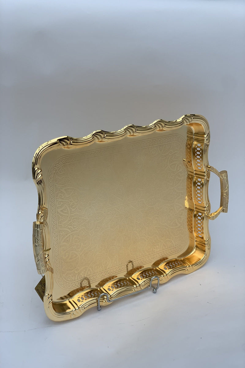 Rectangle Gold Effect Polished Serving Tray