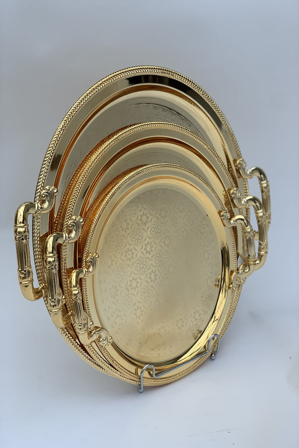 Set of 3 - Round Mirrored Gold Effect Polished Tray