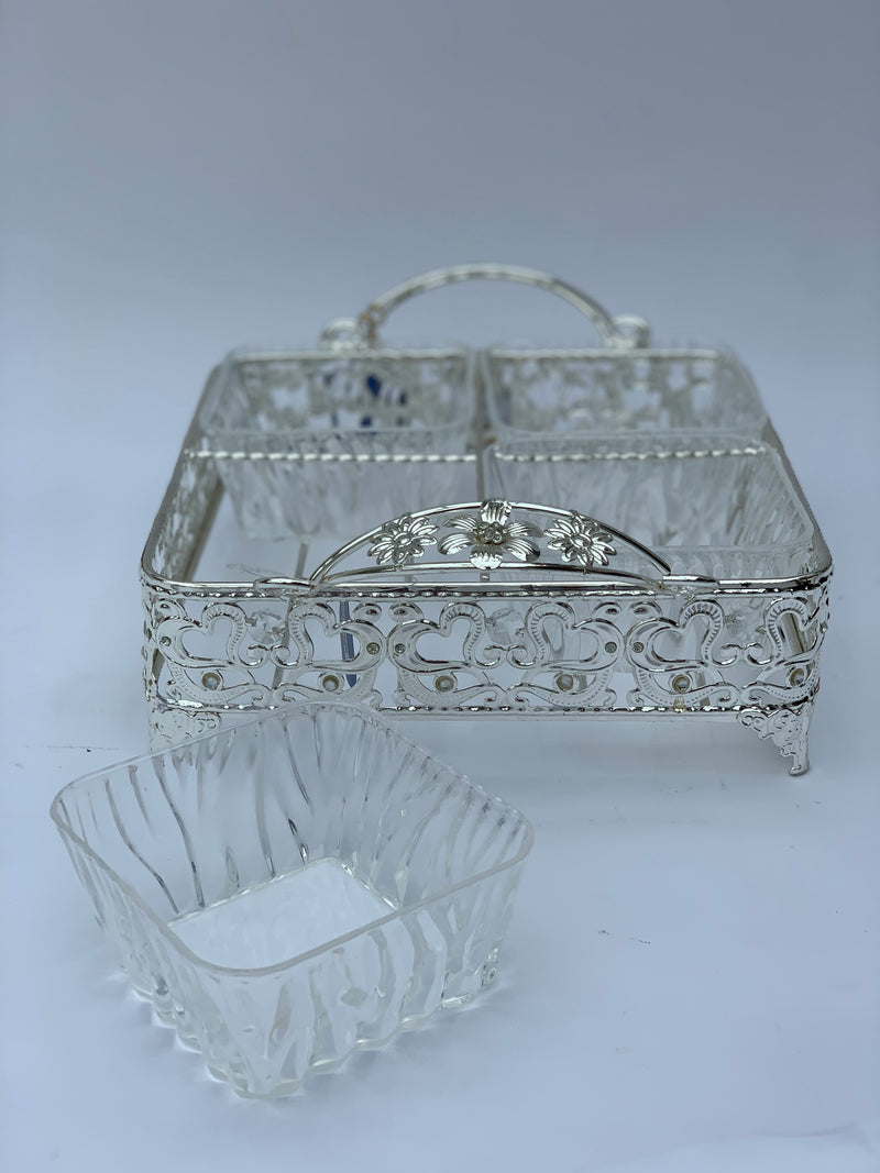 Silver Floral Divided Serving Tray with Lids
