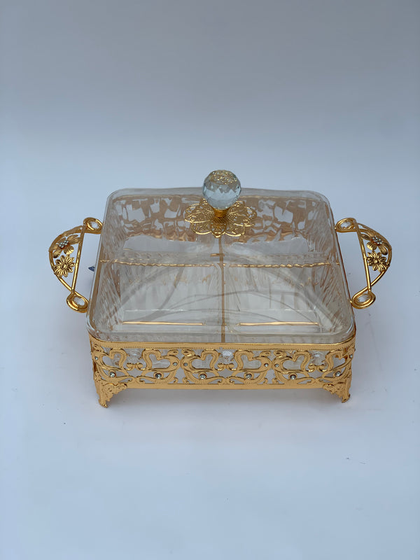 Gold Floral Divided Serving Tray with Lids