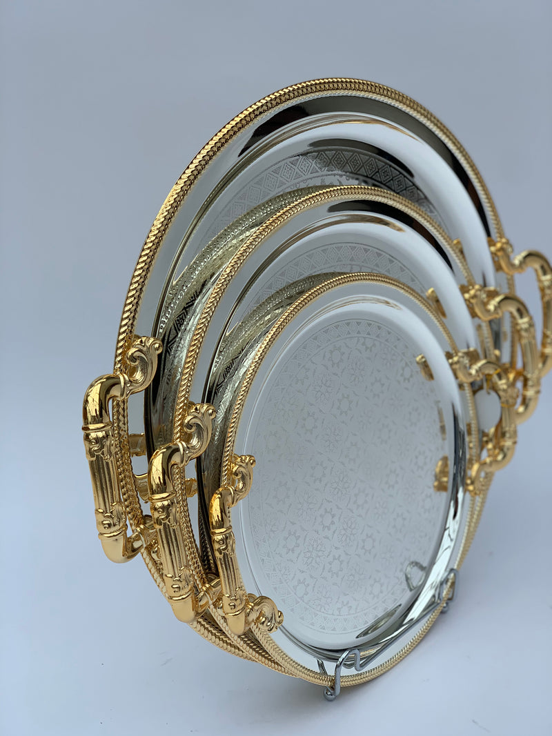 Set of 3 - Round Mirrored Silver/Gold Effect Polished Tray