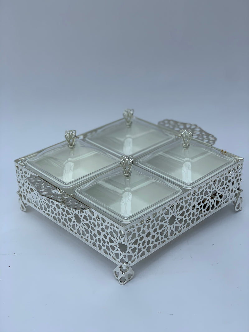Silver Arabesque Divided Serving Tray with Lids