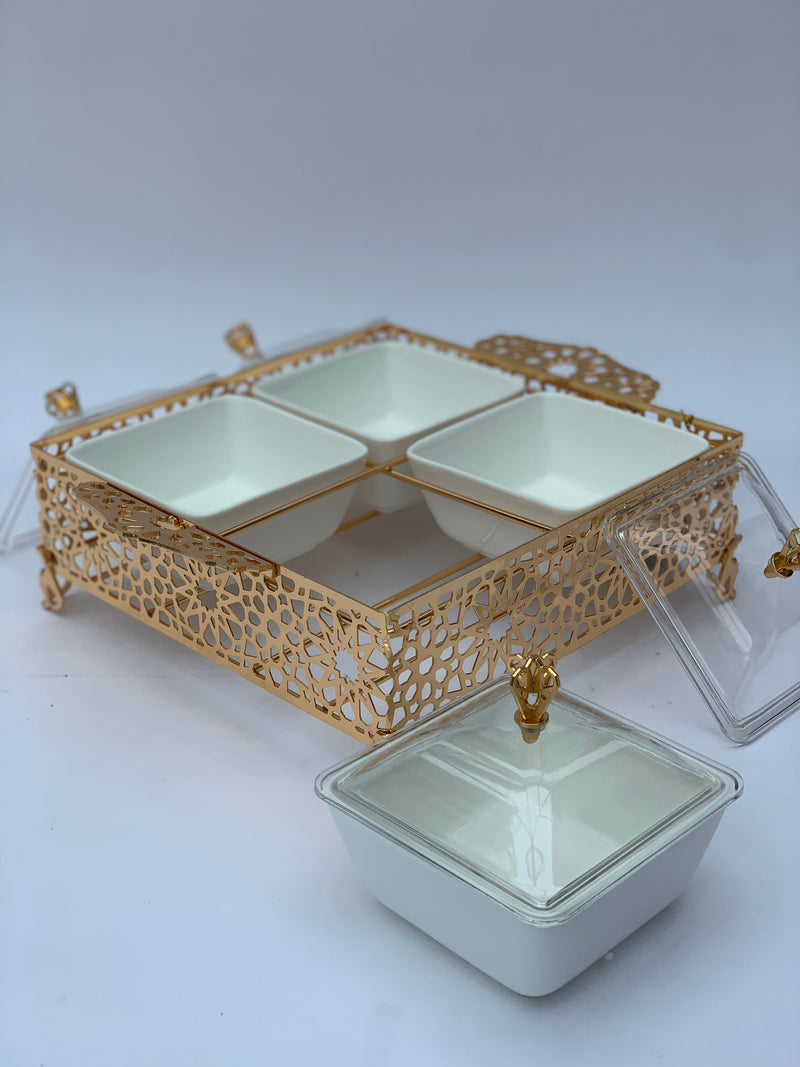 Gold Arabesque Divided Serving Tray with Lids