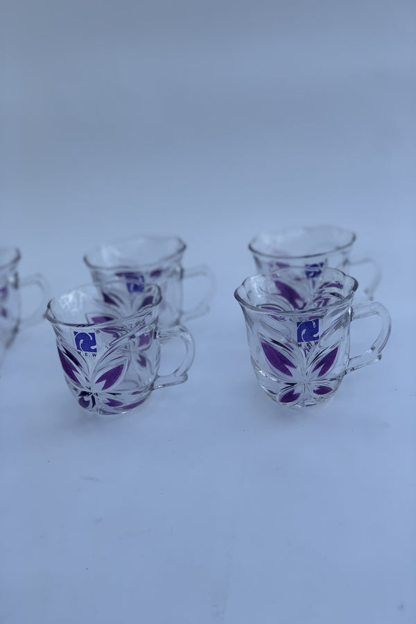 Florenice Purple Glass Tea Cups
