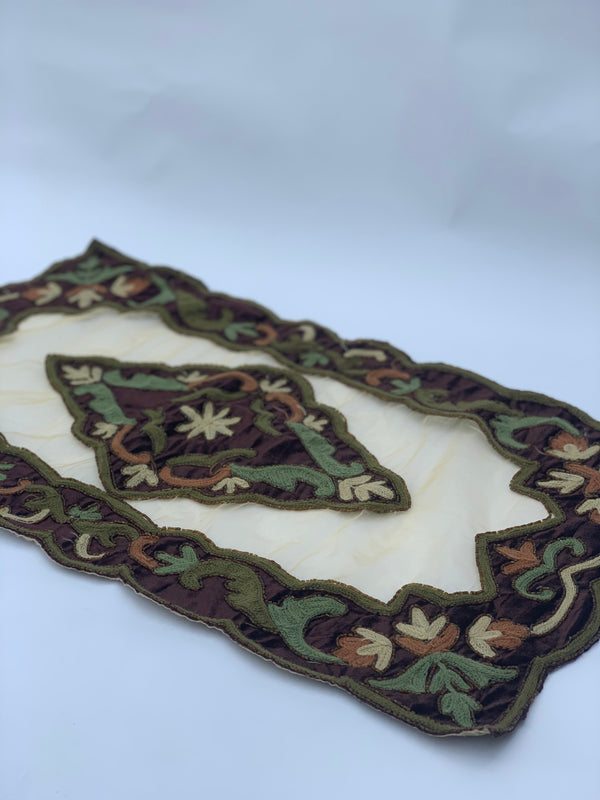 Green and Brown Velvet Table Runner set (3pcs)