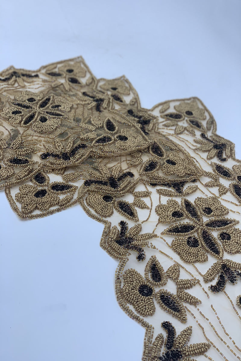 Gold and Brown Beaded Table Runner set (3pcs)