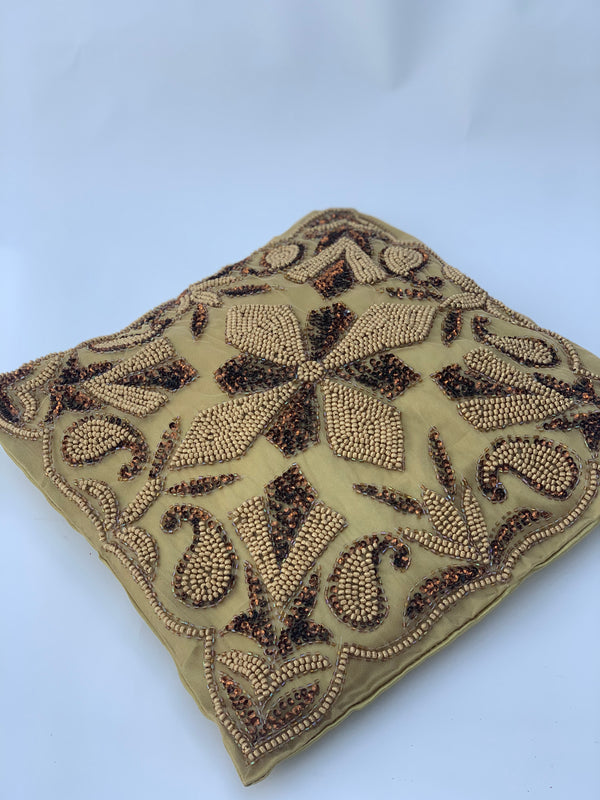 Gold Beaded Cushion Cover