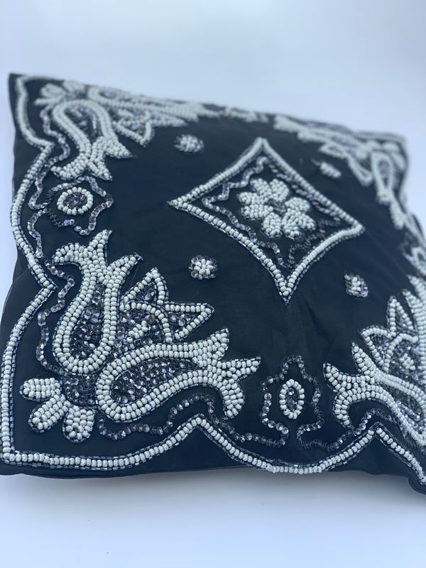 Charcoal Beaded Cushion Cover