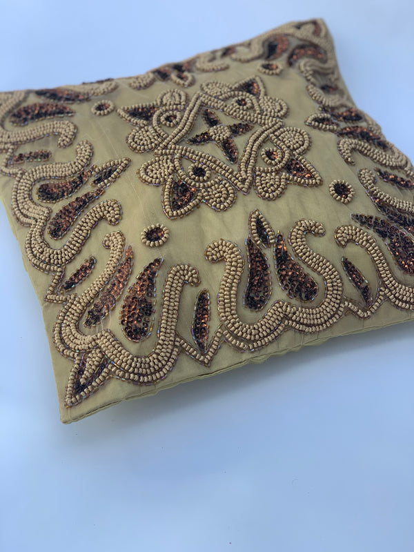 Gold - Beige Beaded Cushion Cover