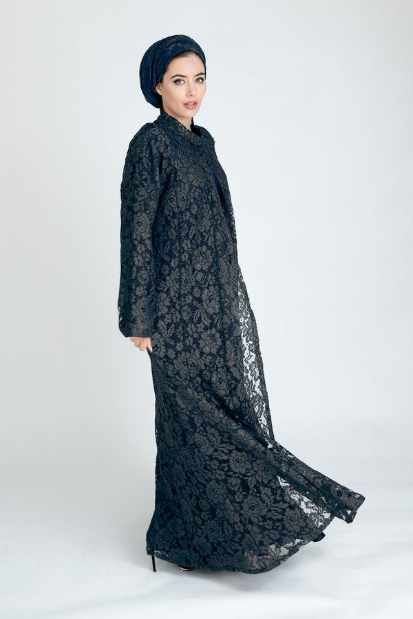 Nancy Black Lace Abaya