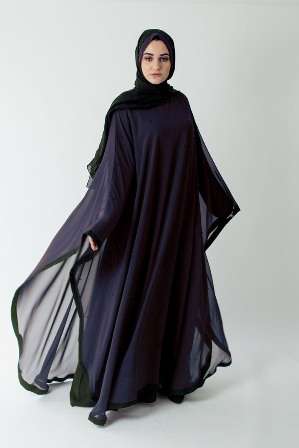 Navy Batwing Closed Abaya UK