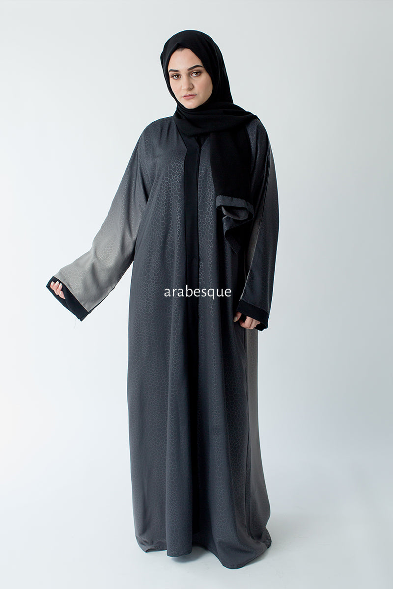 Grey Patterned Ombre Open Abaya Online
