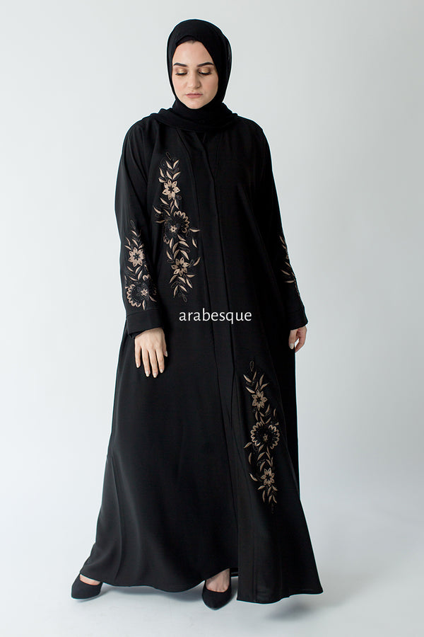 Flower Embroidered Open Abaya Online