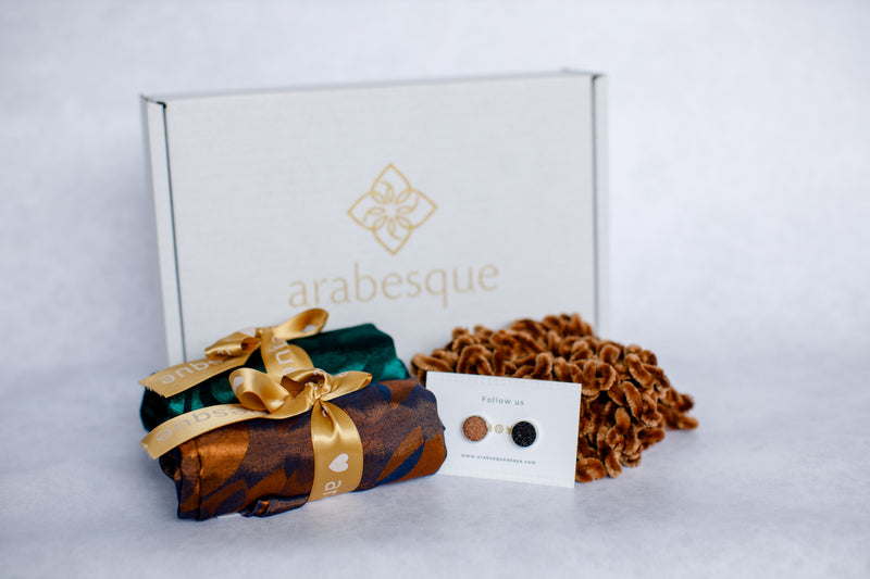 Jacquard Pattern Square Hijab and Accessories Gift Set
