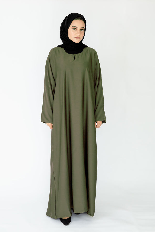 Olive Plain Closed Abaya