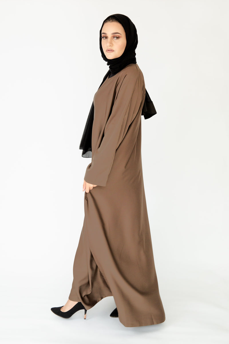 Light Brown Plain Closed Abaya