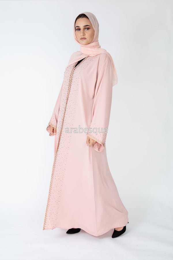 Pink Shimmer Open Abaya UK