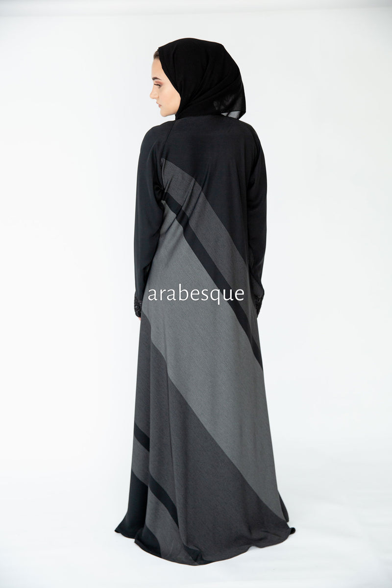 Pinstripe Umbrella  with Lace Closed Abaya UK