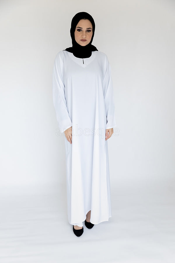 Plain Closed White Abaya