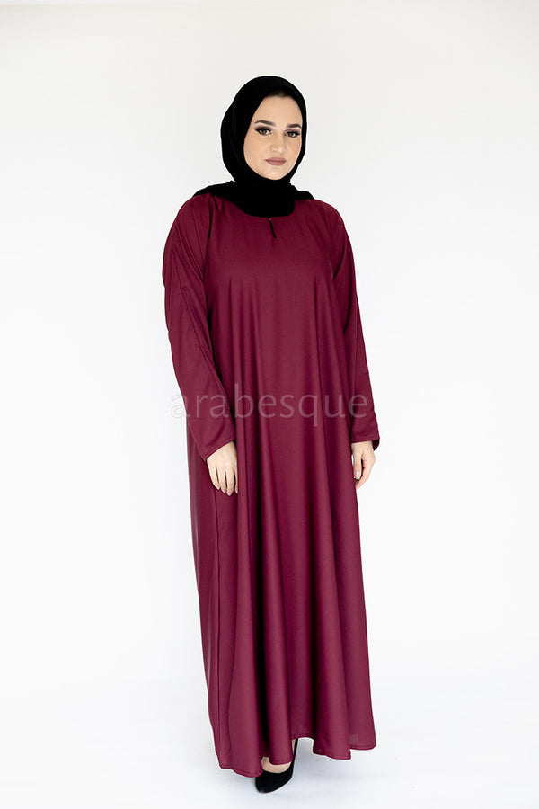 Maroon Plain Closed Abaya