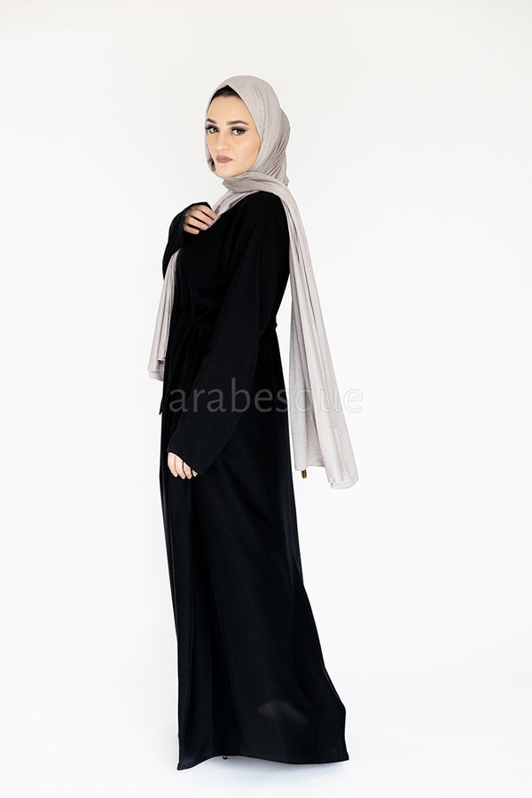 Black Draw String Abaya