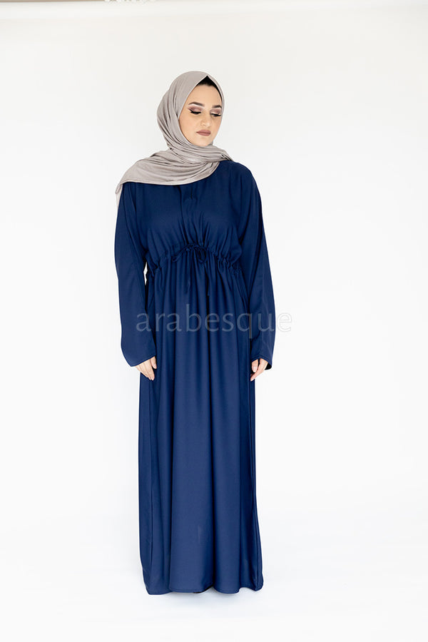 Navy Draw String Abaya