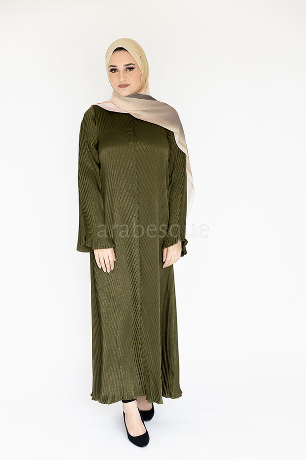Khaki Pleated Makhmal Abaya