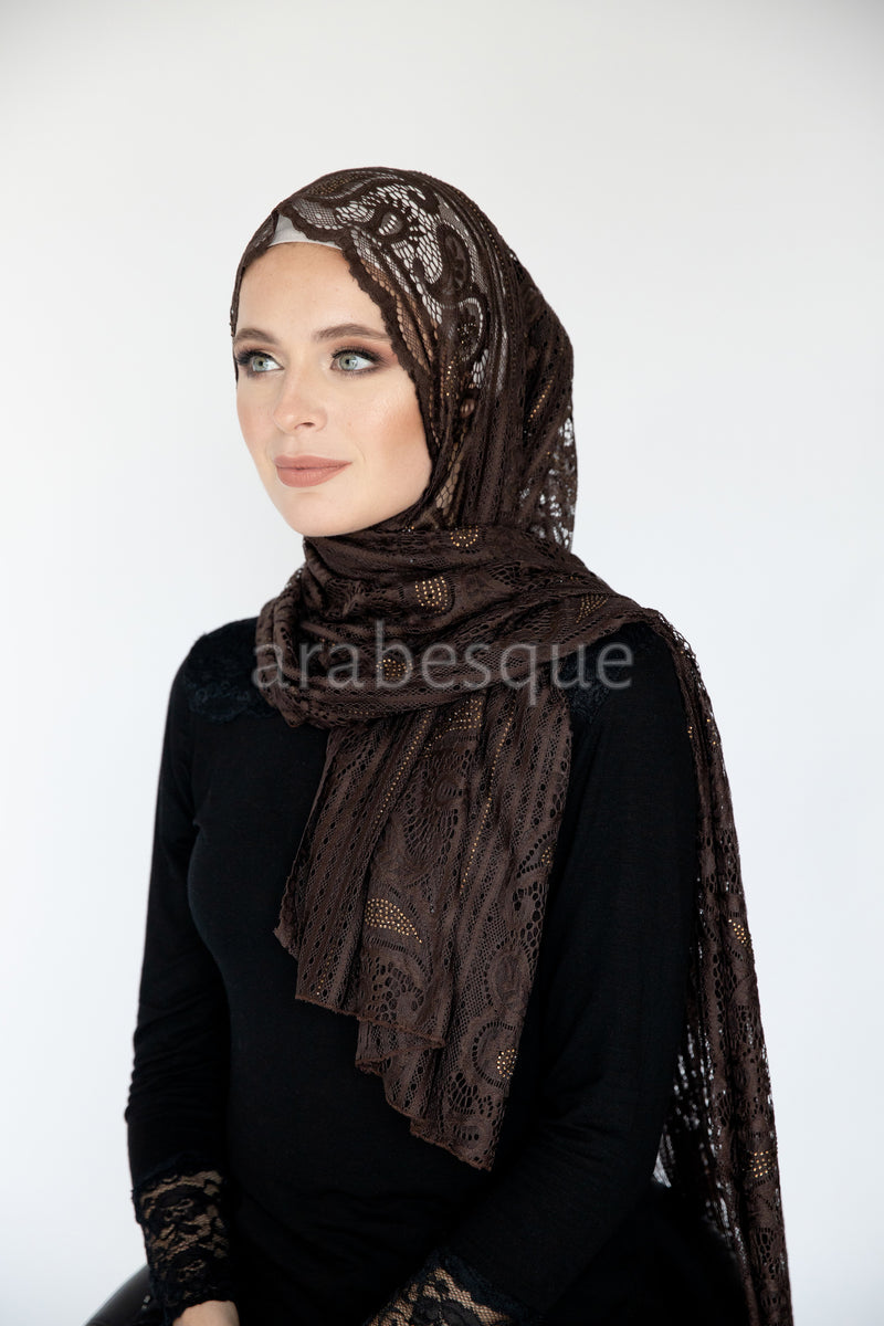 Tulip Lace with Diamante in Dark Brown