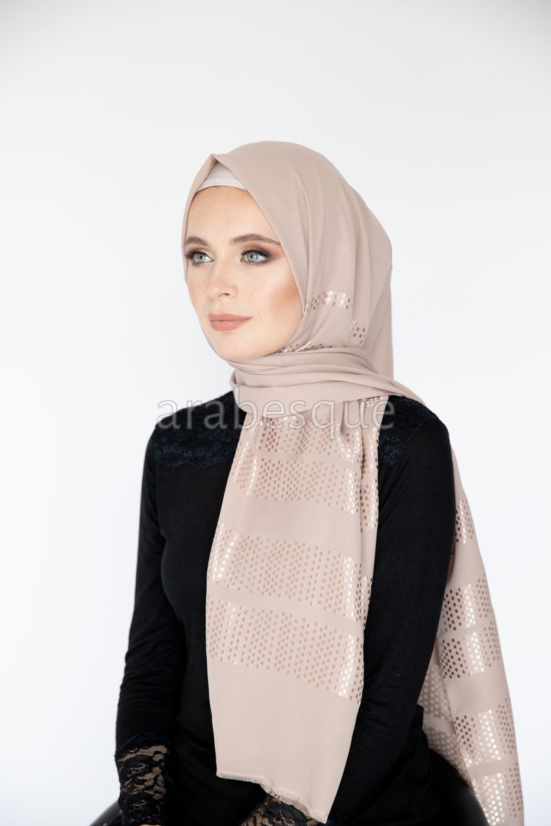 Star Light Long Hijab in Rose Gold