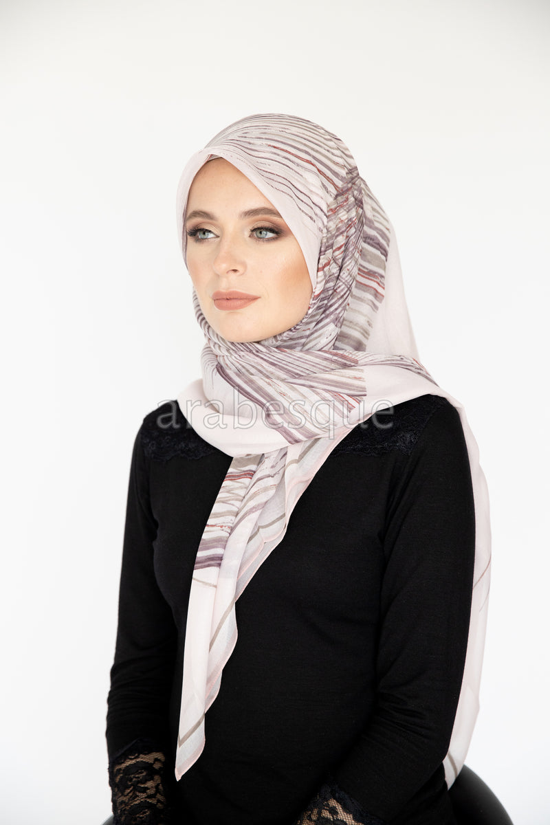 Feather Square Hijab in Pink