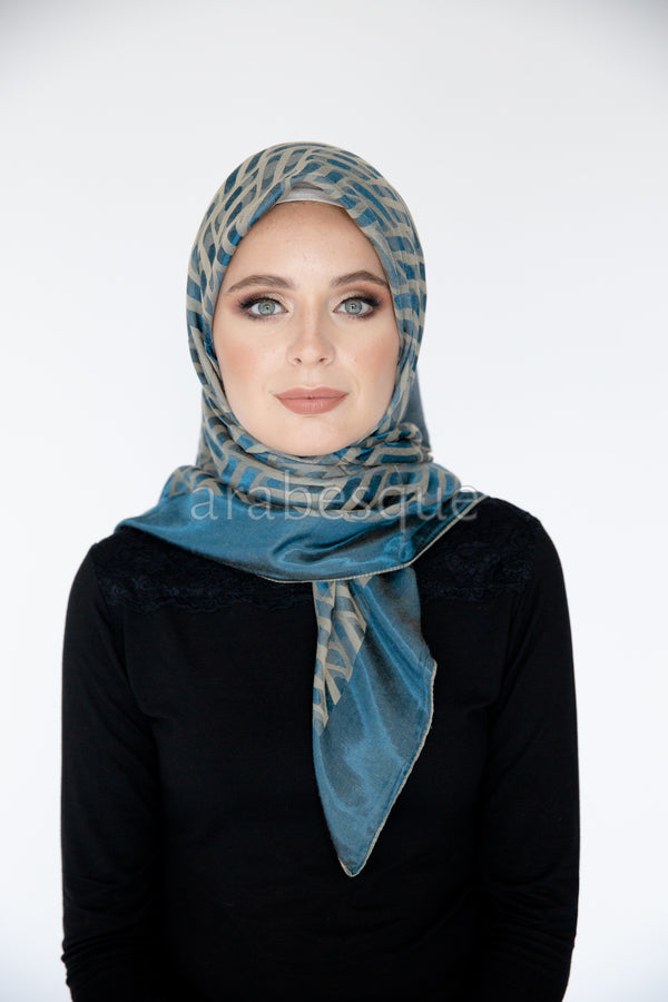 Square Crepon Scarf//Hijab with pattern