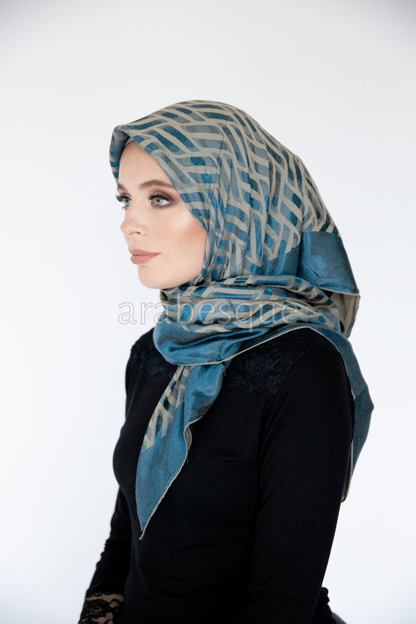 Jacquard Woven Pattern Square Hijab in Blue