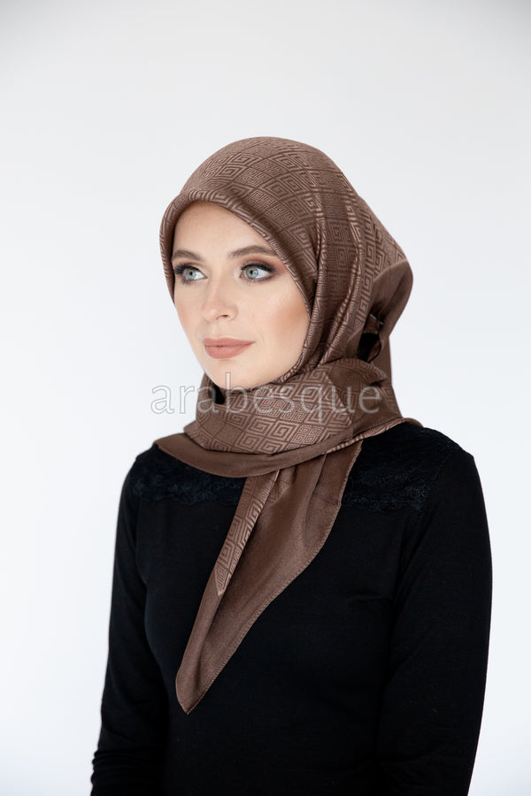 Meander Pattern Hijab in Light Brown