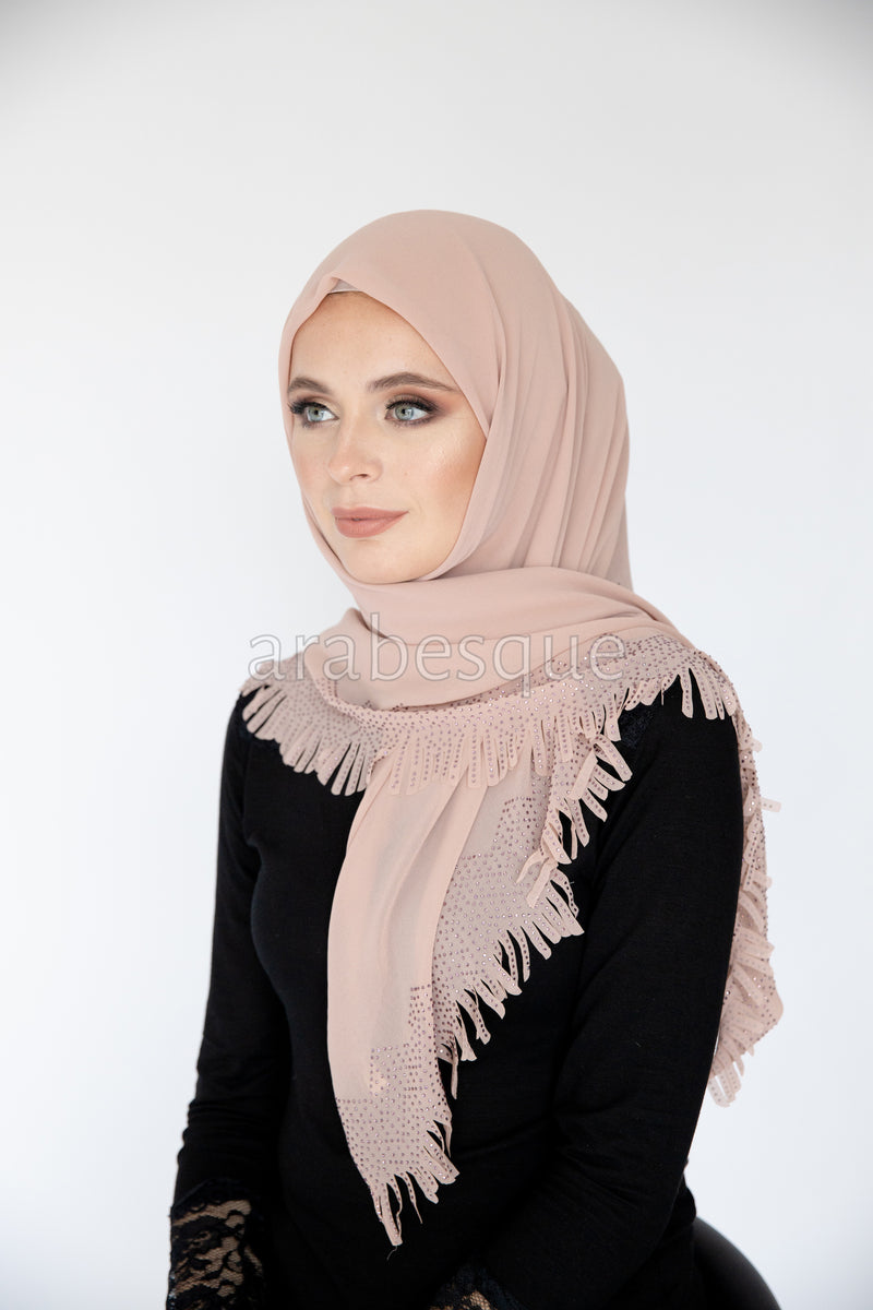 Kashkha Square Tassel Hijab in Dusty Pink