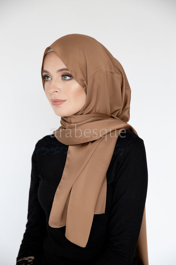 Plain Satin Long Hijab in Camel