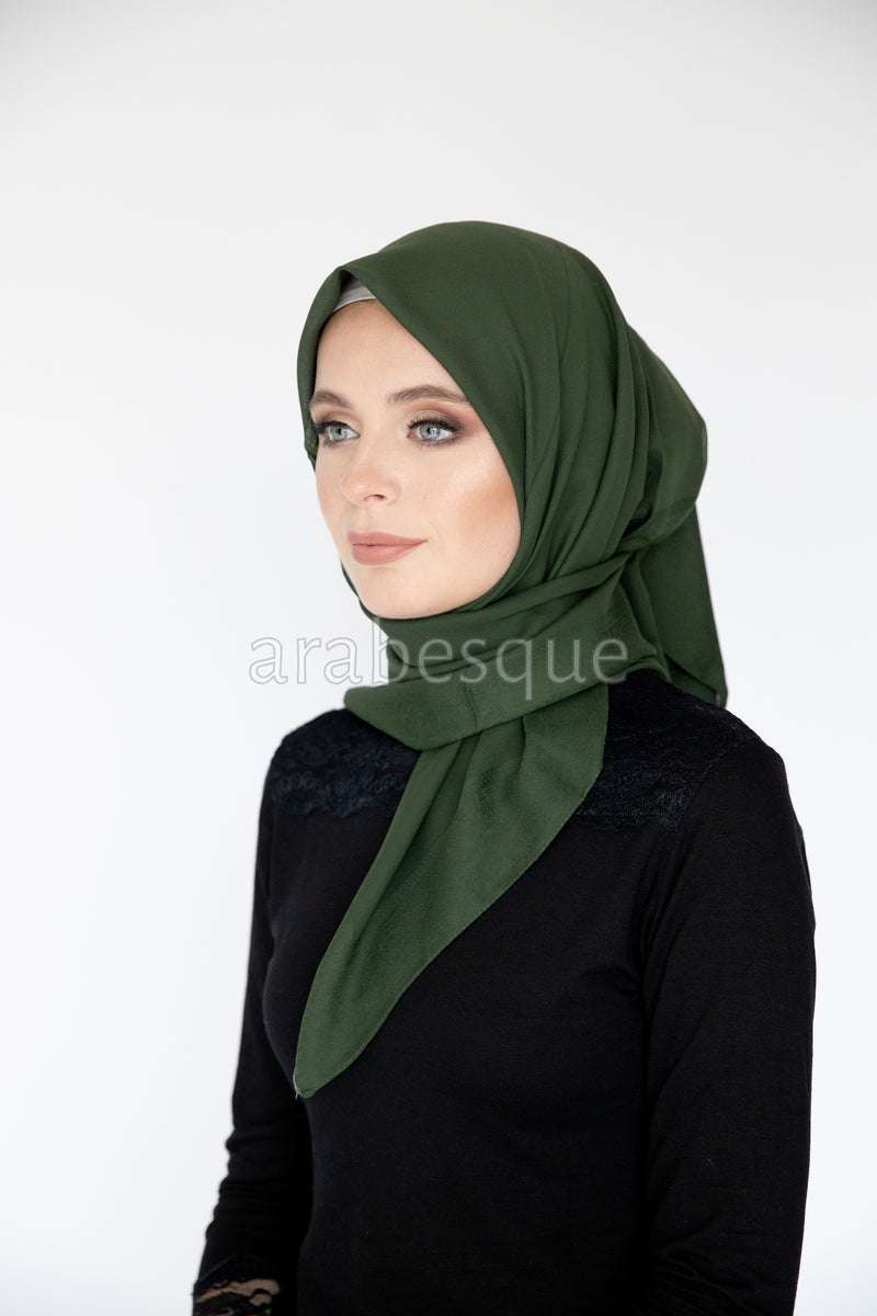 Border Chiffon Square Hijab in Moss Green