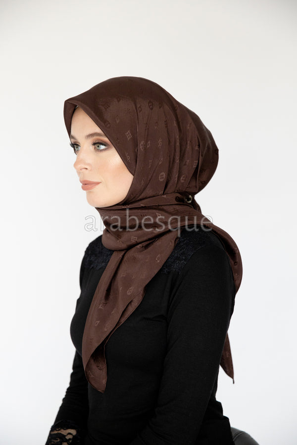 KR square Hijab in Dark Brown