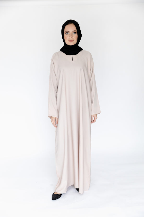 Nude Plain Closed Abaya