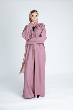 Dusty Pink Shimmer Abaya Design