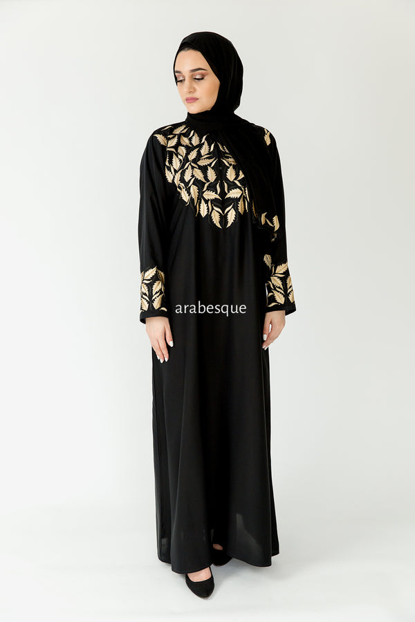Gold Leaf Closed Abaya Online