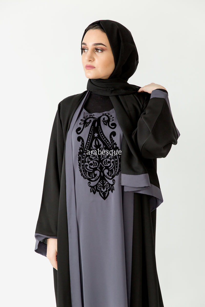 Layan Grey Closed Abaya Online