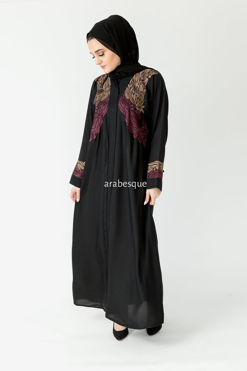 Mauve Leaf Open Abaya UK
