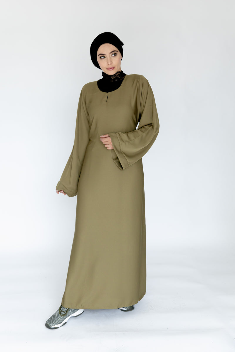 Plain Olive Abaya with tie-back belt