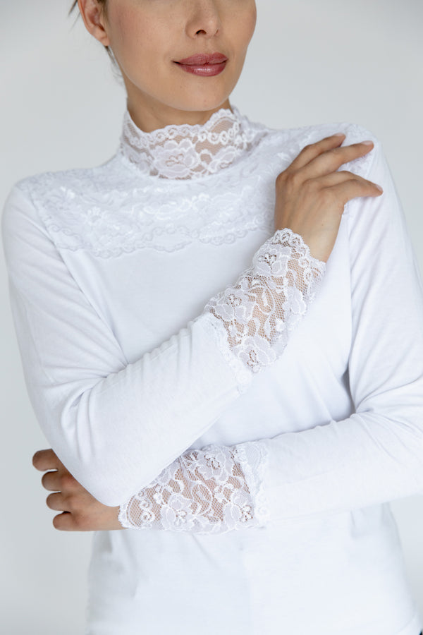 White Lace Trimmed Top