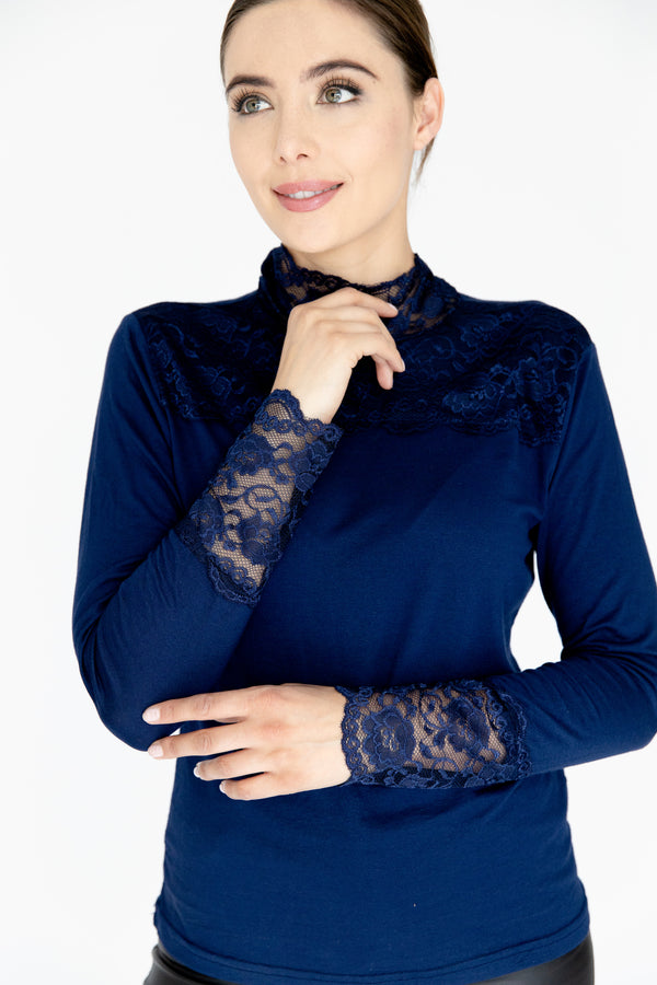 Navy Lace Trimmed Top